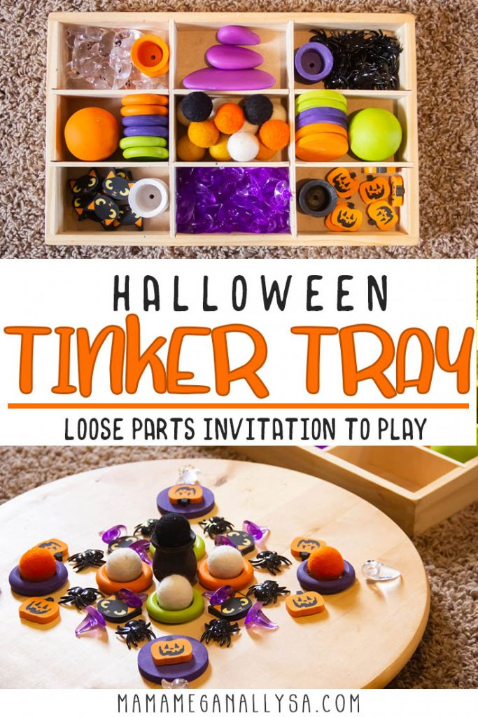Loose parts play is a wonderful way to allow some creativity into your child's play! I pulled together a bunch of loose parts like small erasers and acrylic table scatter all themed around some spooky stuff to fit our Halloween toy rotation