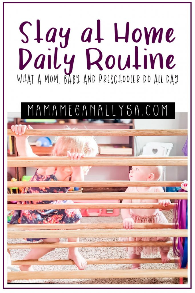 A day in the life of a Stay at Home Mom with a baby and a toddler in tow. Its often messy, loud, and a little out of control at times; but it's my real-life daily routine, and sometimes I even manage to drink some coffee before it goes cold. If your looking for ideas on how to structure your day look no farther! #sahm #dailyschedule #momschedule #stayathomemom #toddlermom #toddlerroutine #babyroutine #babyschedule