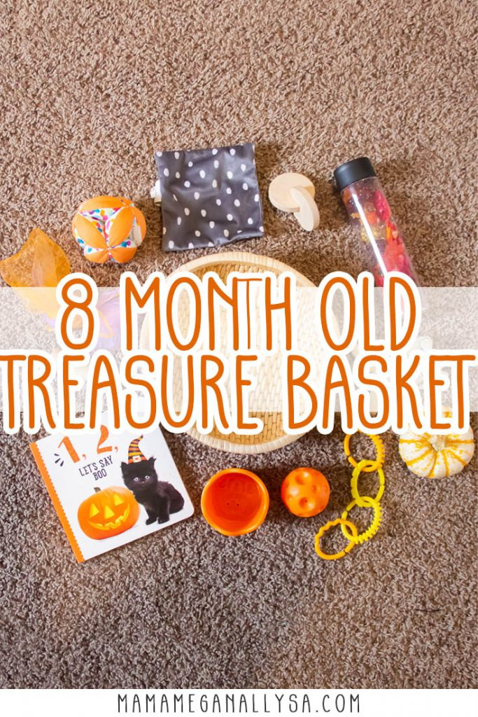 A treasure basket is a wonderful first invitation to play often found in Montessori spaces for your baby. It's a simple basket filled with items that are simply there for the baby to discover and explore! You will often find them themed around a sensory experience or learning goal. For Our Halloween toy rotation, it seemed only fitting to do an orange/Halloween basket!
