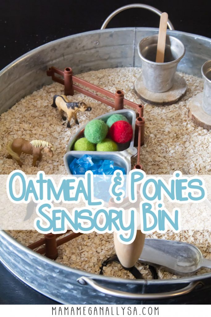 A Ponies and Oatmeal sensory bin is a super simple small world invitation to play that most any kid is bound to have a lot of fun with.