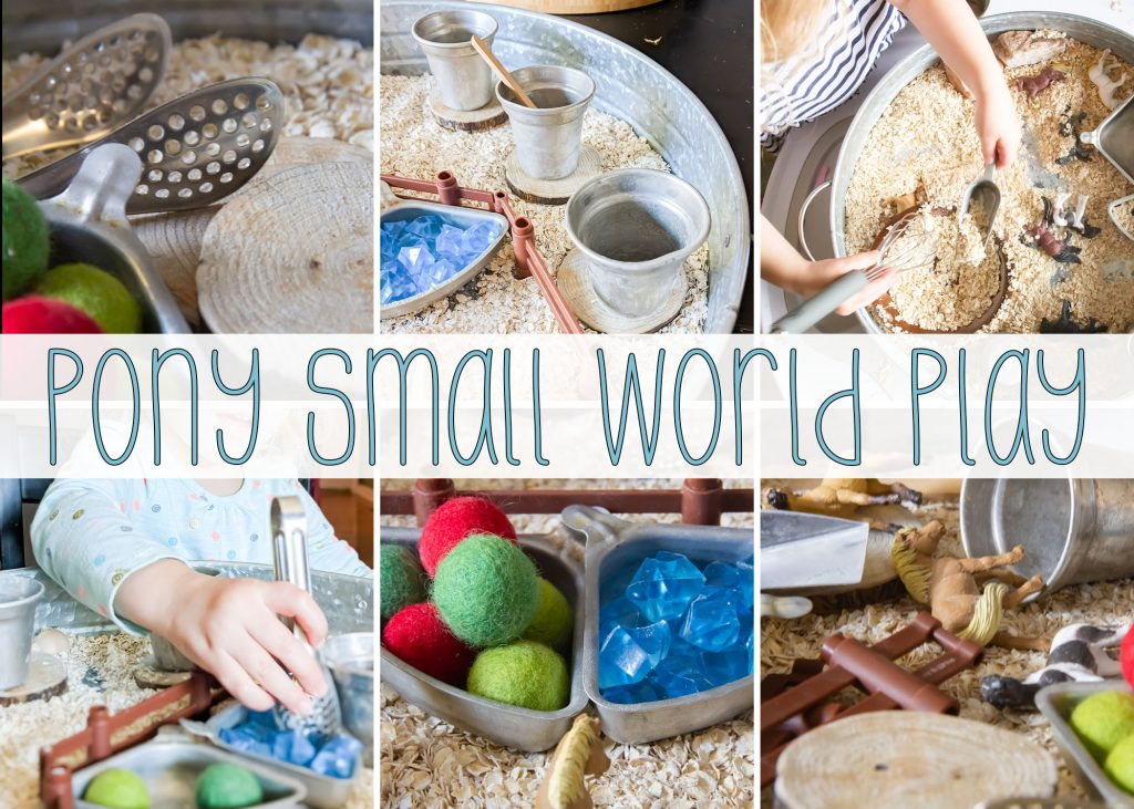 With some loose parts, some sensory bin tools and some pony figures this oatmeal sensory bin checks all the boxes for lots of fun!