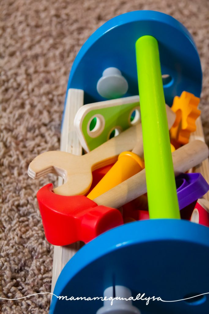 A toolset is a great role play toy as well as great for fine motor