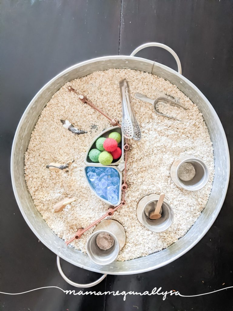 By splitting our Ponies and Oatmeal sensory bin into two sides it allows for some small world play on one side and exploration of the sensory materials on the other.