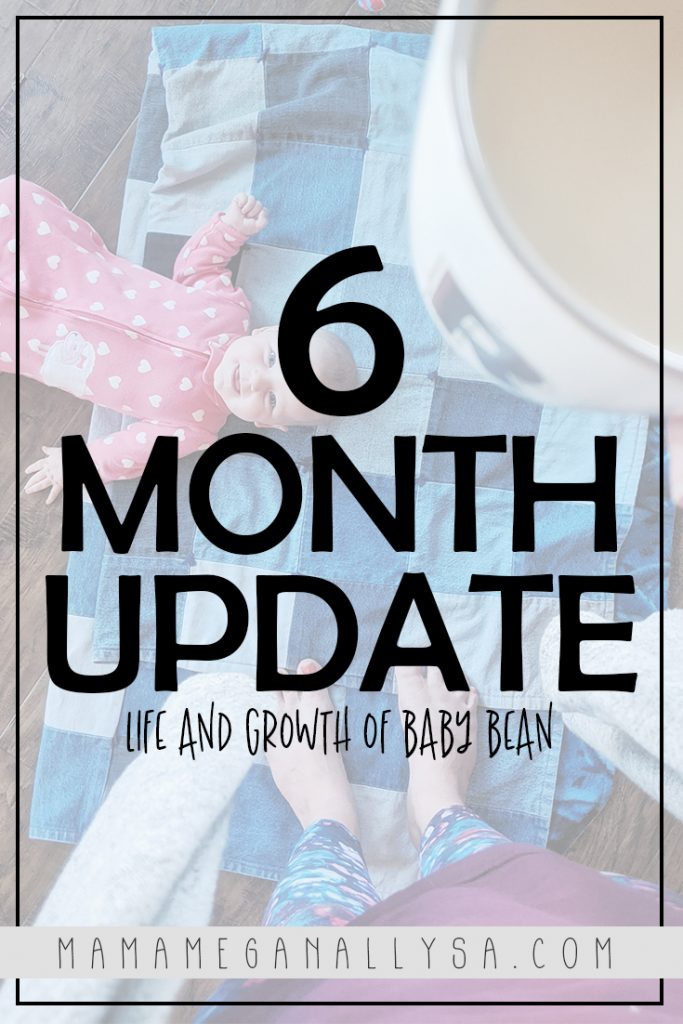 a pin that says baby bean 6 months update, life and growth of baby bean with a baby laying on the floor in the background