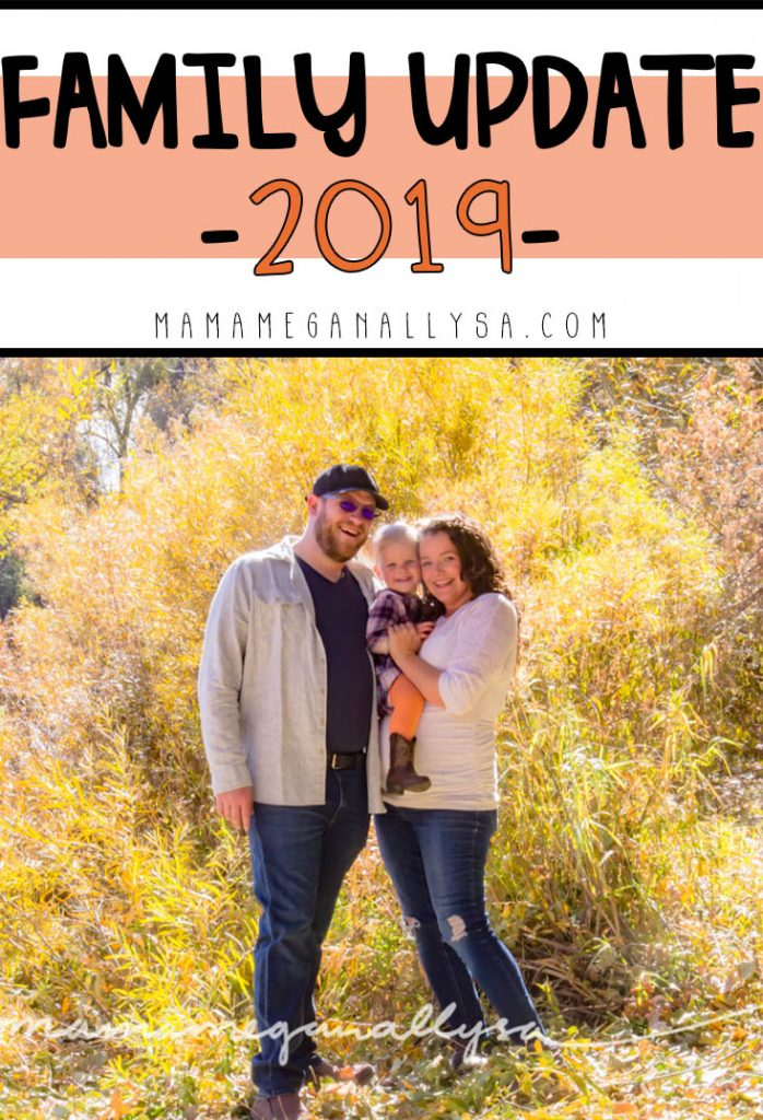 a pin that says family update 2019