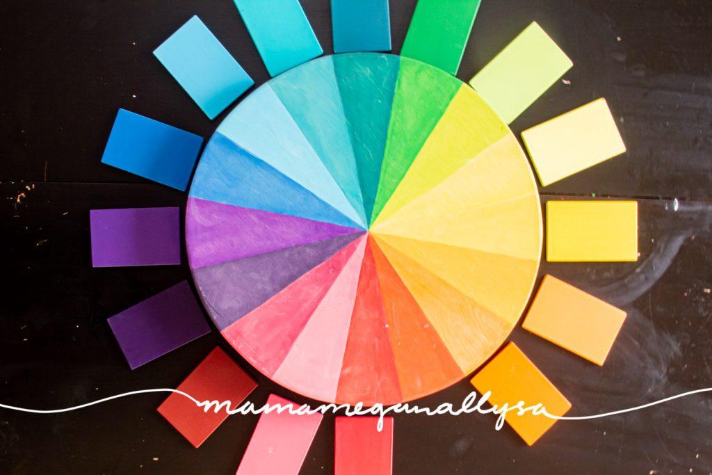 DIY Montessori color tablets arranged around my DIY color wheel lazy susan