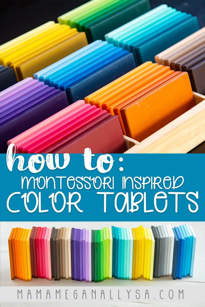 A pin image that reads how to: Montessori inspired color tablets with two images. A close up of the color tablets all nestled in their divide box and all the tiles lined up next to each other