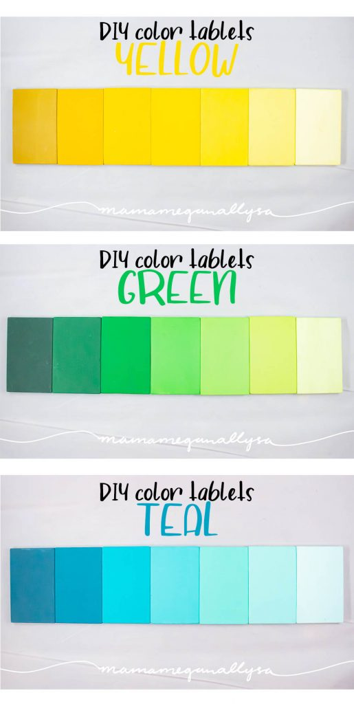 Yellow, Green, and Teal DIY Montessori color tablets arranged in a gradient from dark to light