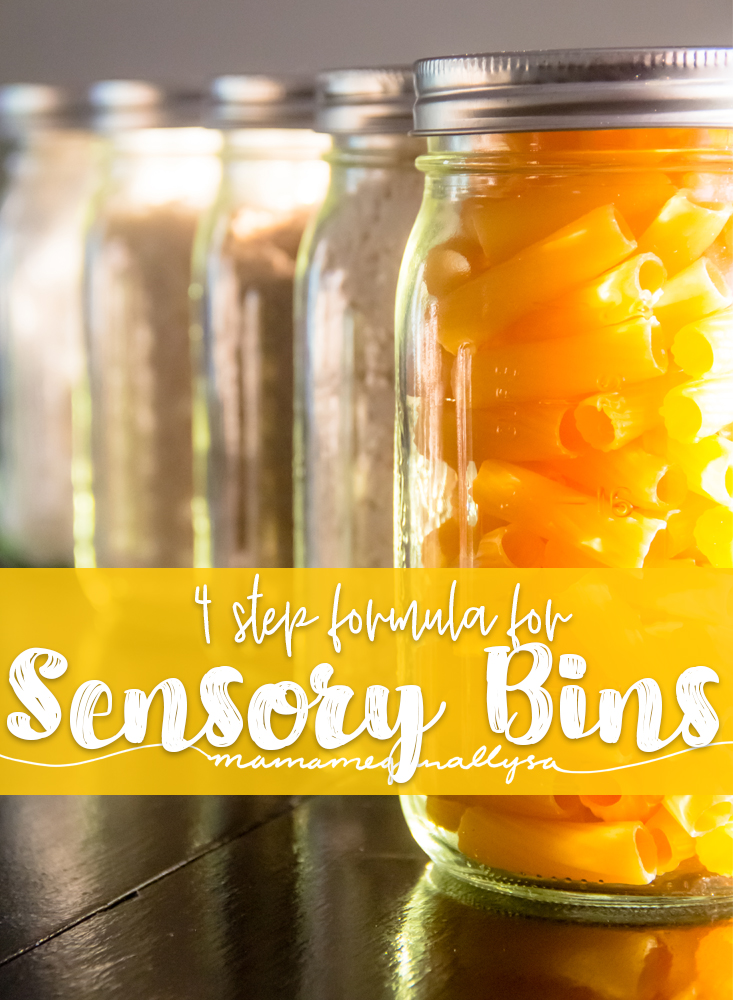 a pin that says 4 step formula for sensory bins it shows some mason jars filled with sensory filler
