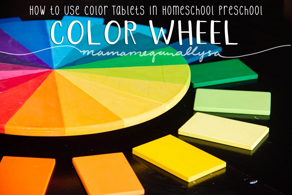 A pin image that reads how to use color tablets in homeschool preschool - Color Wheel that shows my DIY wooden color wheel with color tablets laid around it to match up with the colors on the wheel