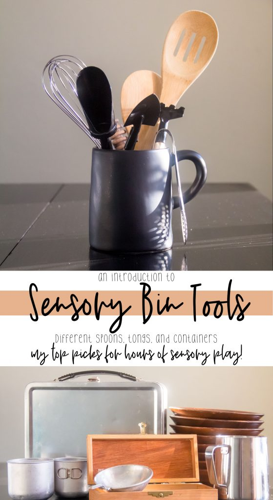 a pin showing differing kinds of tools for sensory bins