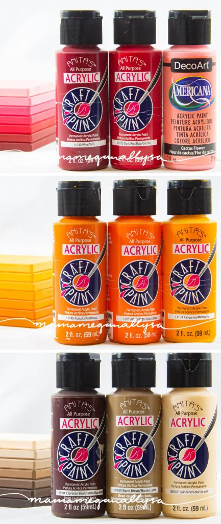 Red, orange and brown paint bottles, with each color showing three shades. A light, medium and dark