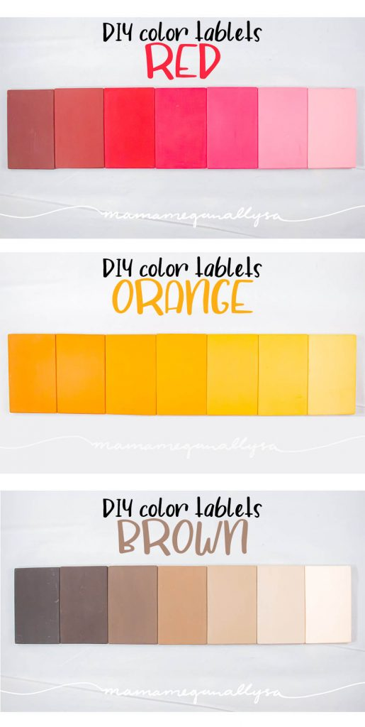 Red, Orange, and Brown DIY Montessori color tablets arranged in a gradient from dark to light