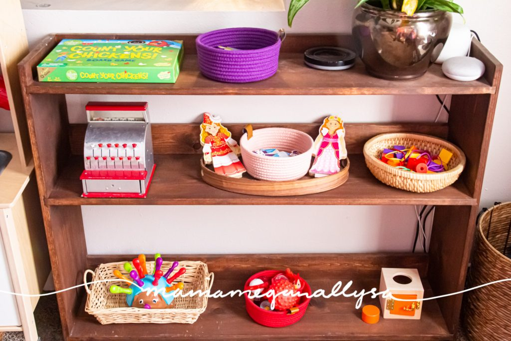 an overview of the toys we have out on our DIY wooden shelves for our playroom toy rotation
