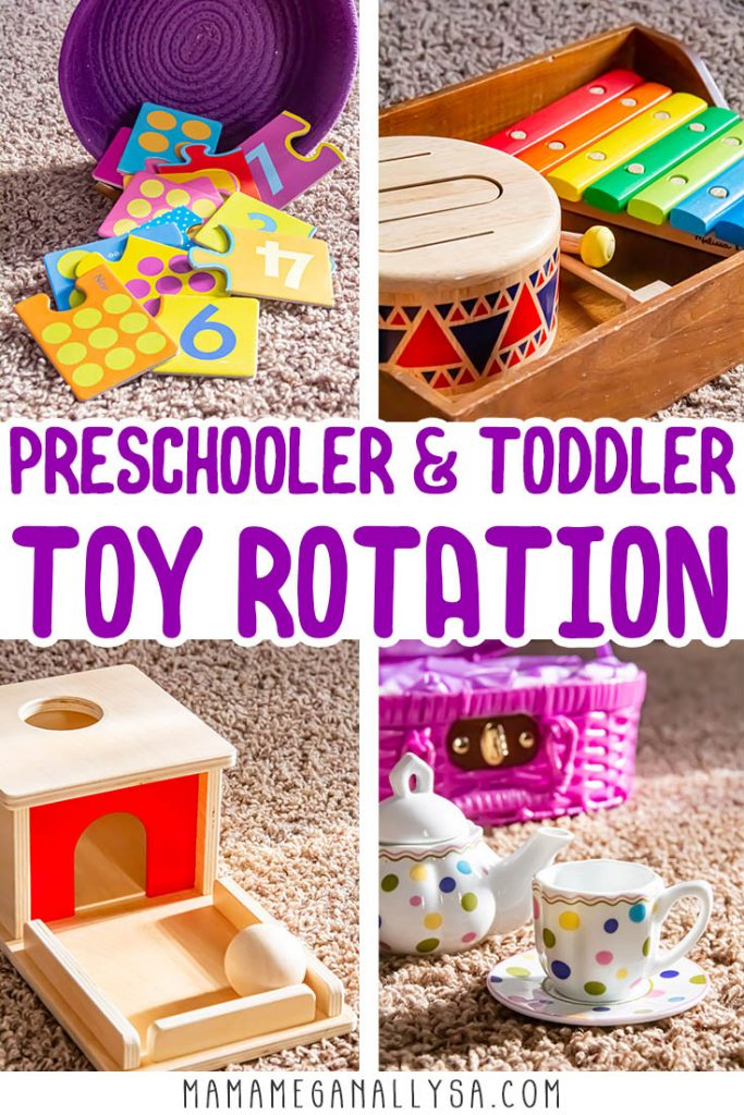 a pin image that says preschool and toddler toy rotation with 4 close up shots of toys