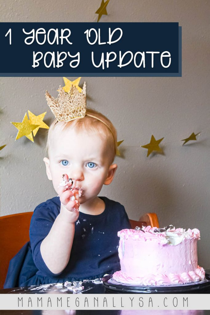 a pin images that says 1 year old baby update with a  picture of a baby eating a pink cake with a crown on