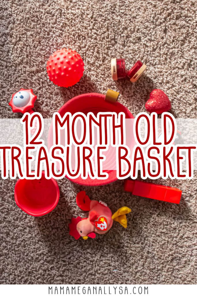a pin images that says 12 month old treasure basket with a a top-down view of a red rope basket surrounded by a random collection of red baby toys