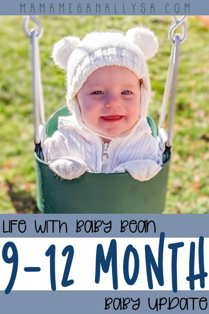 a pin image that says life with baby bean 9-12 month baby bean with a picture of a baby in a white pompom hat in a swing