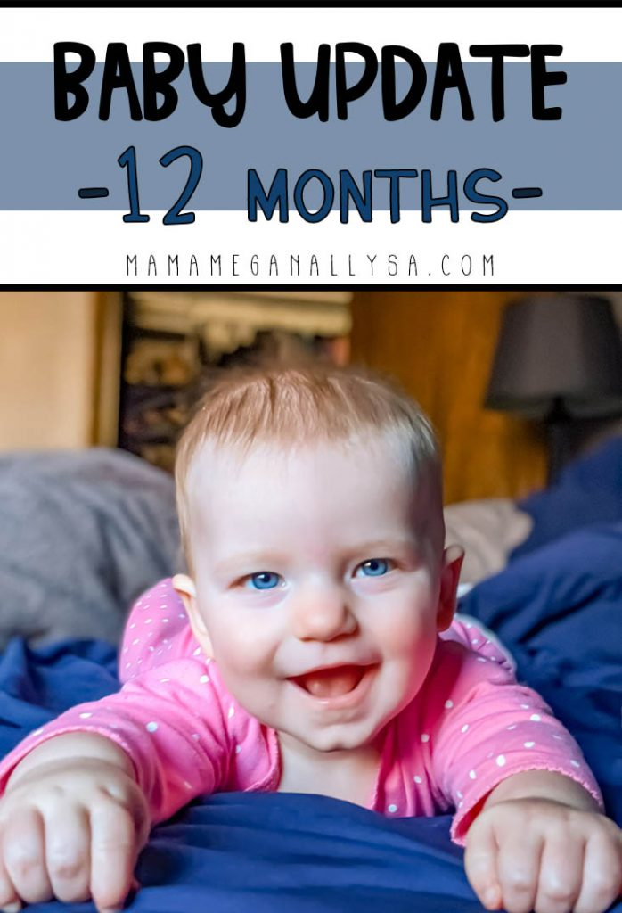 a pin image that says baby update 12 months with an image of baby girl layin gon her tummy smiling at the camera