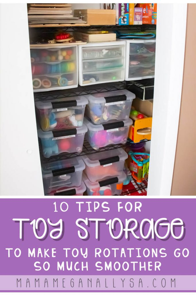 A pin Images that reads 10 tips for toy storage to make toy rotations go so much smoother with a toy storage closet in the background