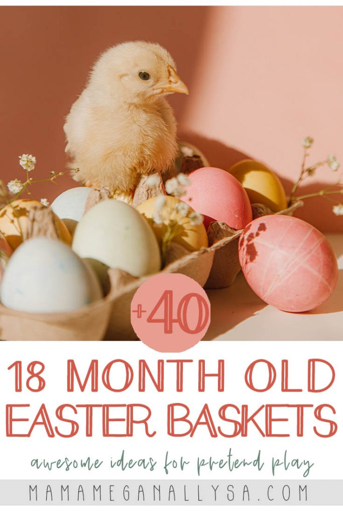a pin image that reads 18 month old easter baskets