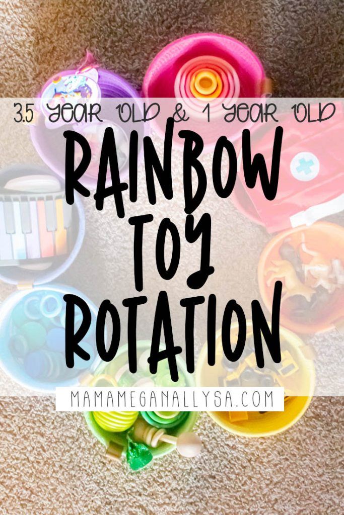 a pin image that reads 3.5 year old and 1 year old rainbow toy rotation with a  rainbow of colorful rope baskets full of colorful toys laid out in a circle