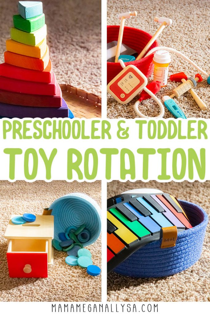 a pin image that read preschooler and toddler toy rotation with some close up of some toys