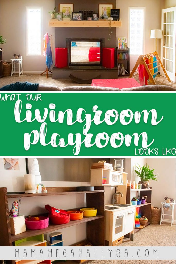 a pin image that reads what our livingroom playroom looks like with a  couple of images of our livingroom playroom