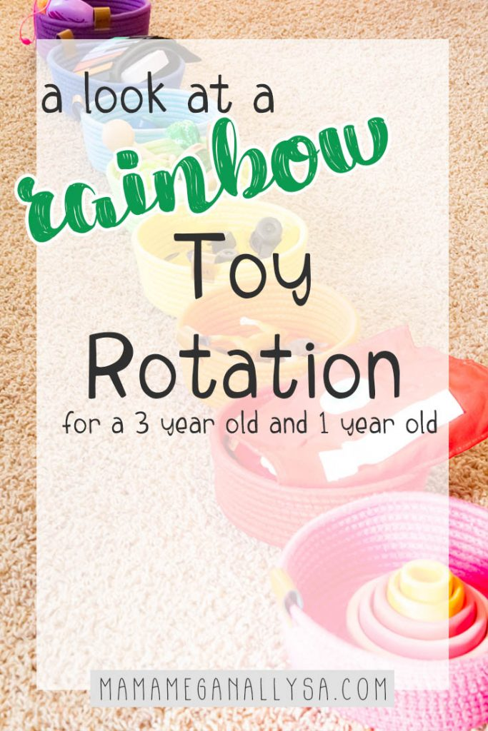 A pin images that reads a look at a rainbow toy rotation for a 3 year old and a1 year old with a rainbow of rope baskets in the background