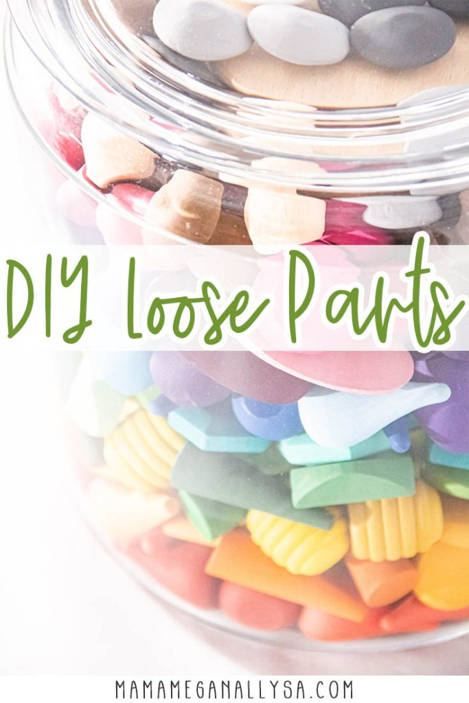 a pin image that reads DIY loose parts showing an image of my wooden loose parts displayed in a large glass jar in rainbow order