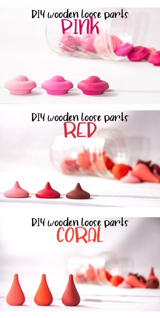 a collage with three images. Each shows a close-up of the painted wooden loose parts, displaying the three tones of paint for each color. Pink flowers, Red chips, and Coral drops