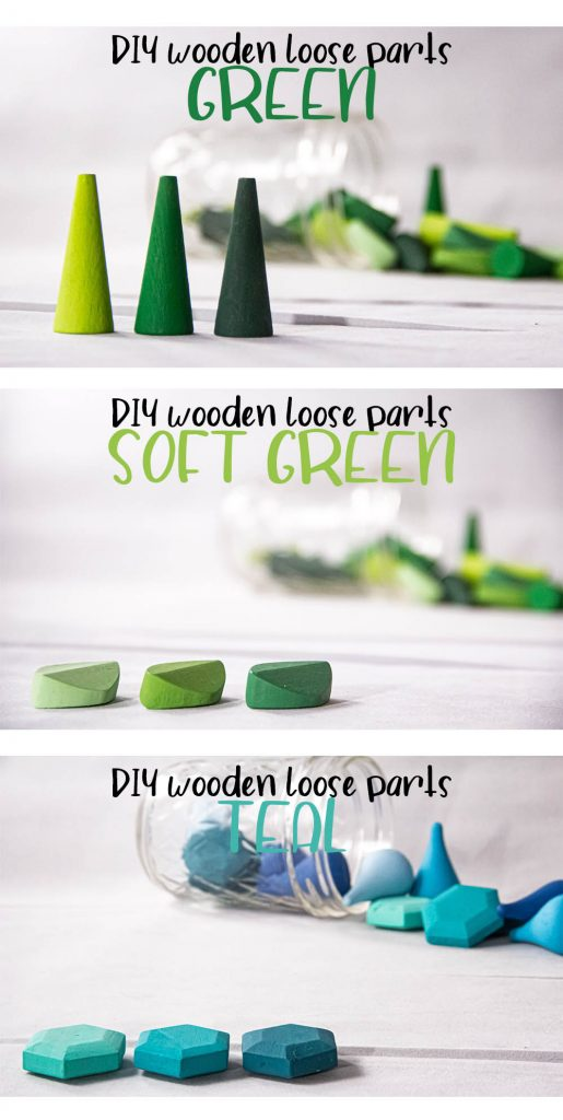 a collage with three images. Each shows a close-up of the painted wooden loose parts, displaying the three tones of paint for each color. Green cones, Soft green leaves, and Teal gems