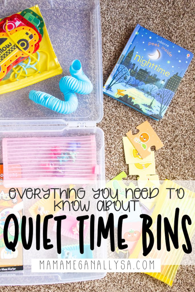 a pin image that reads everything you need to know about quiet time bins over an image of a quiet time bin with its contents scattered around it