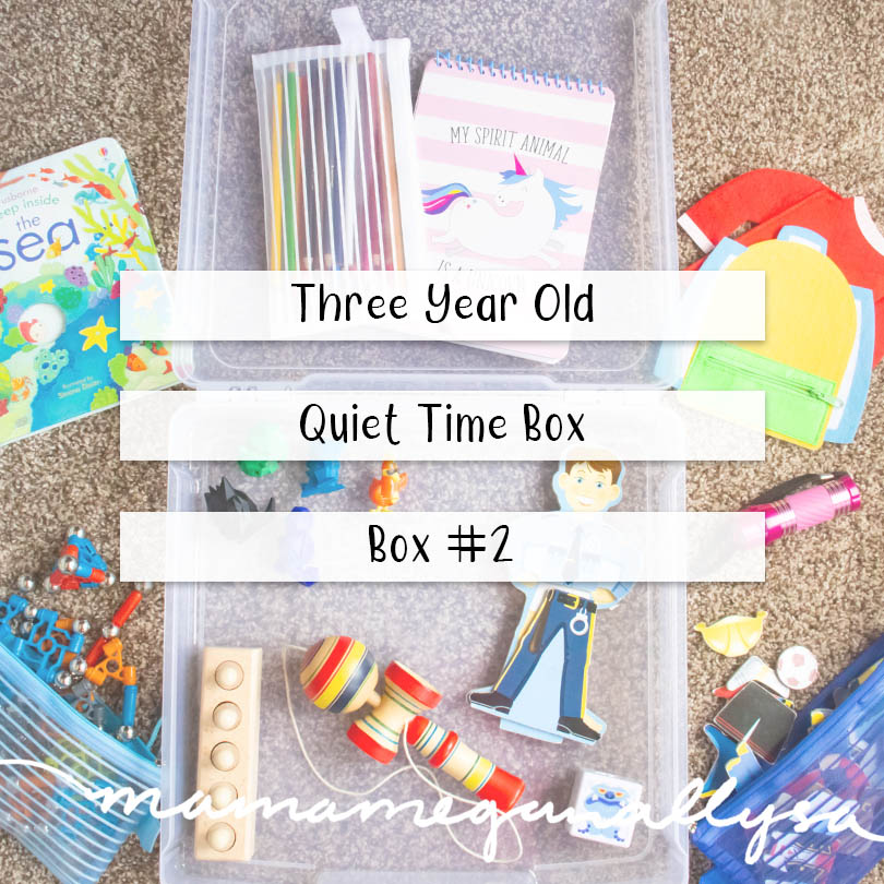 a pin image that reads three year old quiet time box - box #1 over an image of a plastic box with the toys, books, and puzzles scattered all around it
