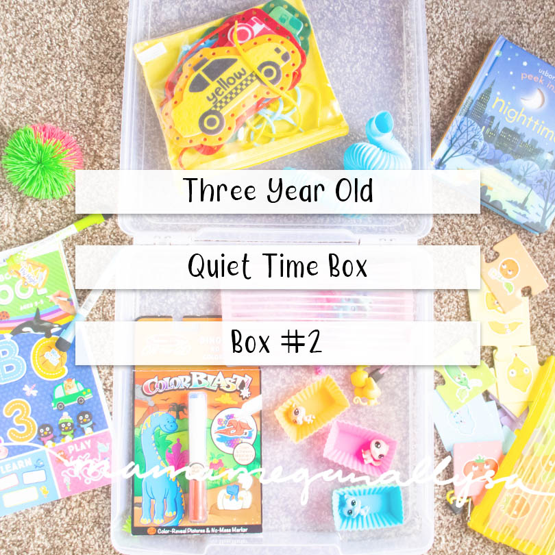 a pin image that reads three year old quiet time box - box #2 over an image of a plastic box with the toys, books, and puzzles scattered all around it