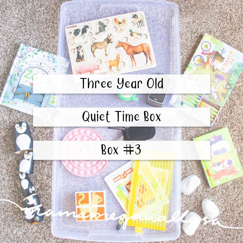 a pin image that reads three year old quiet time box - box #3 over an image of a plastic box with the toys, books, and puzzles scattered all around it