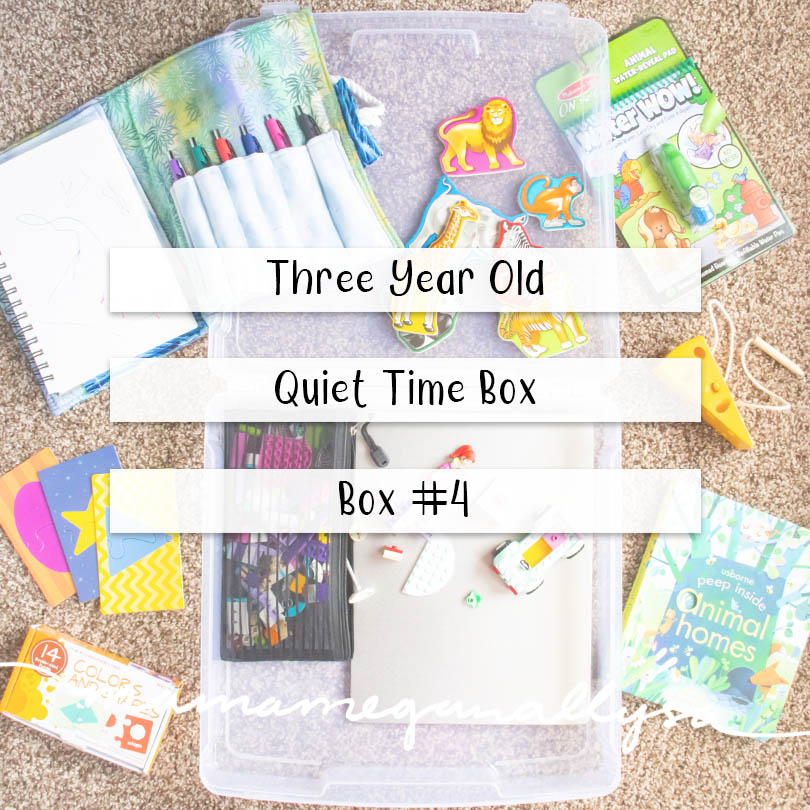 a pin image that reads three year old quiet time box - box #4 over an image of a plastic box with the toys, books, and puzzles scattered all around it