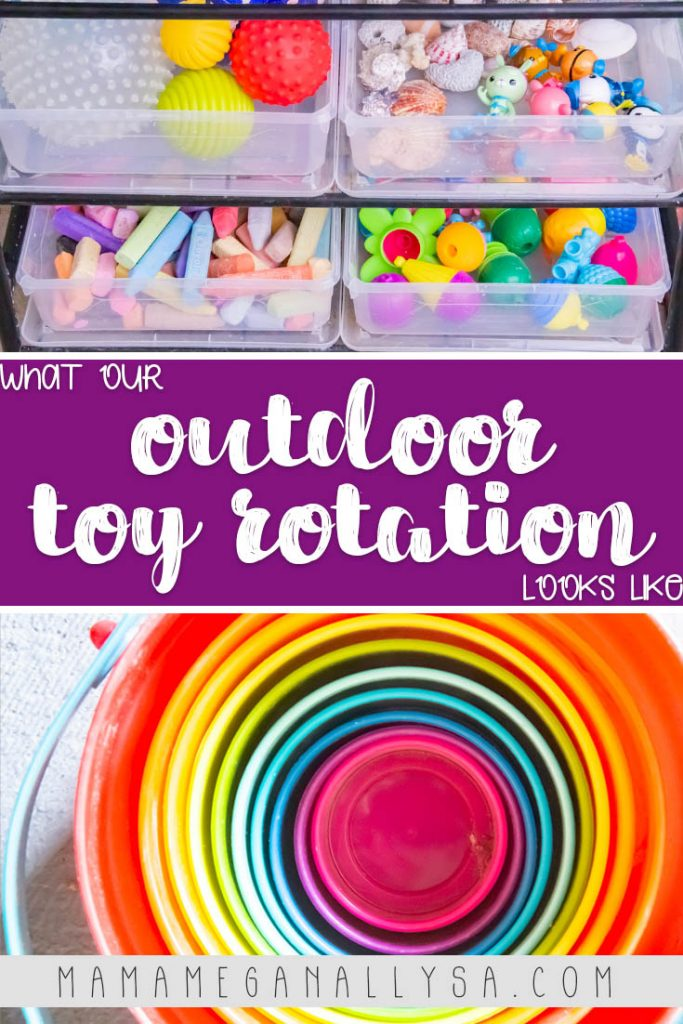 a pin image that reads  what our outdoor toy rotation looks like with two images one with all the baskets filled with toys for the backyard and one with some nesting buckets