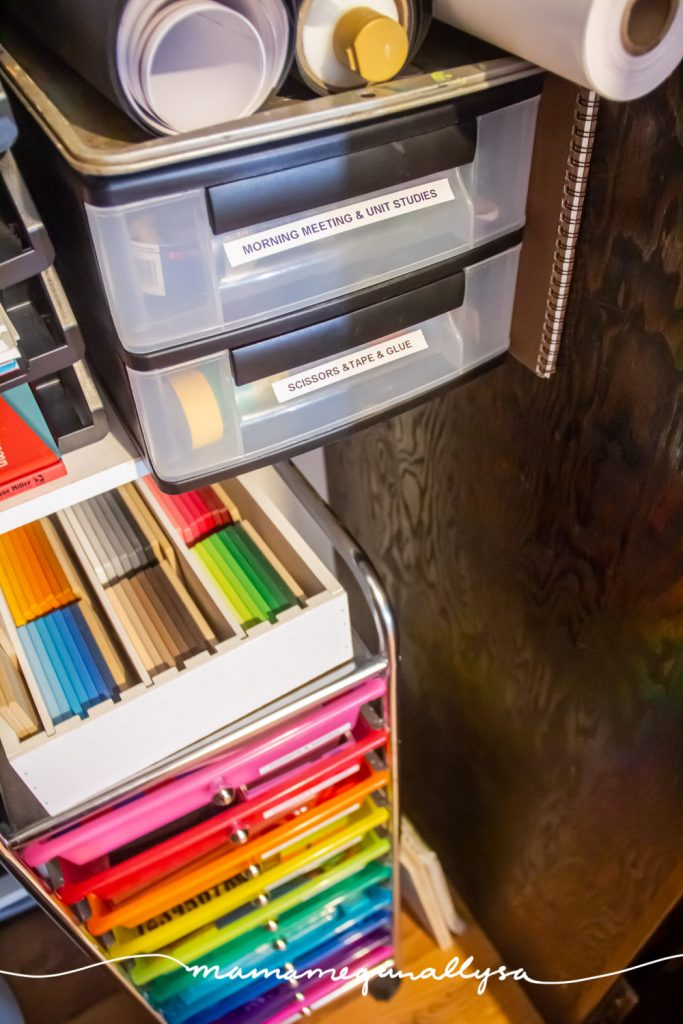 drawer organizers in our homeschool closet filled with various homeschool materials and art supplies