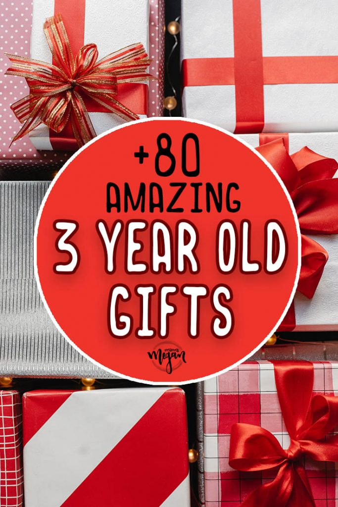 a pin image that reads +80 amazing 3 year old gifts over an image of red and white christmas presents